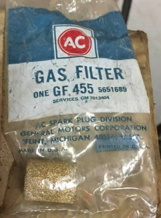 NOS Original Stone Carburetor Gas Filter