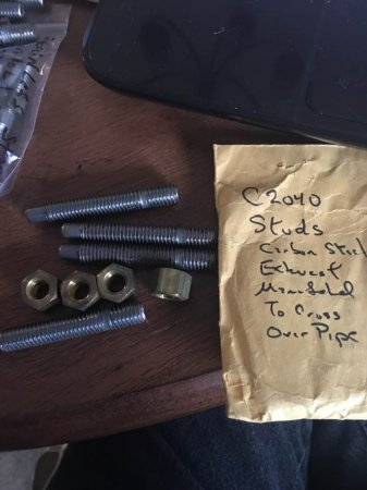 4 MANIFOLD STUDS & BRASS NUTS FOR FOR 2 MANIFOLDS