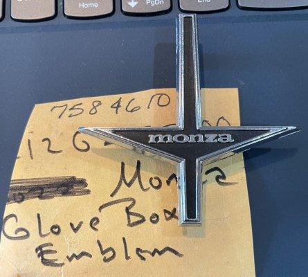 GLOVE BOX DOOR EMBLEM-66-69-MONZA